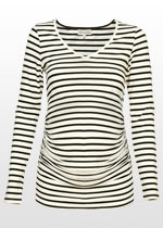 Cream and black striped maternity top