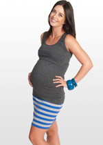 Blue and grey striped maternity mini skirt