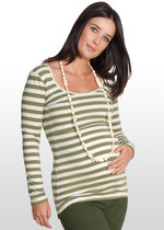 Khaki-striped nursing top