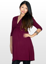3/4 sleeve wine-red maternity dress