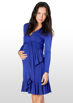 Dark azure maternity wrap dress