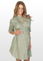 Khaki maternity shirt-dress