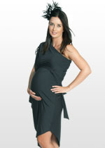 Charcoal one-shouldered maternity dress