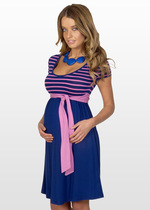 Pink & navy maternity dress