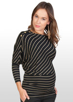 Asymmetric Black/Gold Maternity Top