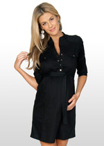 Black Maternity Shirt-Dress