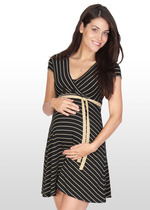 Black/Gold Stripe Maternity Dress