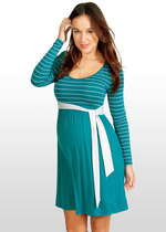 Teal & silver striped maternity dress