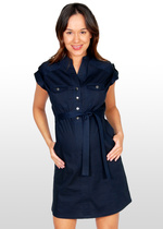 Midnight Blue Maternity Shirt-Dress