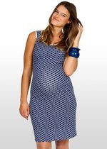 Navy Scallop Print Maternity Dress