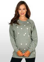 White Spotted Maternity/Nursing Sweater