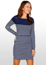 Breton Stripe Nursing Dress- Navy/White