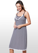 Navy Striped Maternity & Nursing Nightie