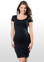 Black cap sleeve maternity & nursing dress