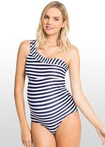 One-Shoulder Striped Maternity Swimsuit