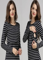 Black and White Striped Nursing Top