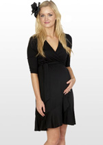 Ruffled black wrap maternity dress