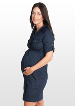Navy blue maternity shirt dress