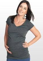Ruched Charcoal Maternity T-shirt