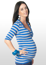 Blue & grey striped maternity nursing top